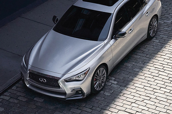 Aerial view of a 2020 INFINITI Q50