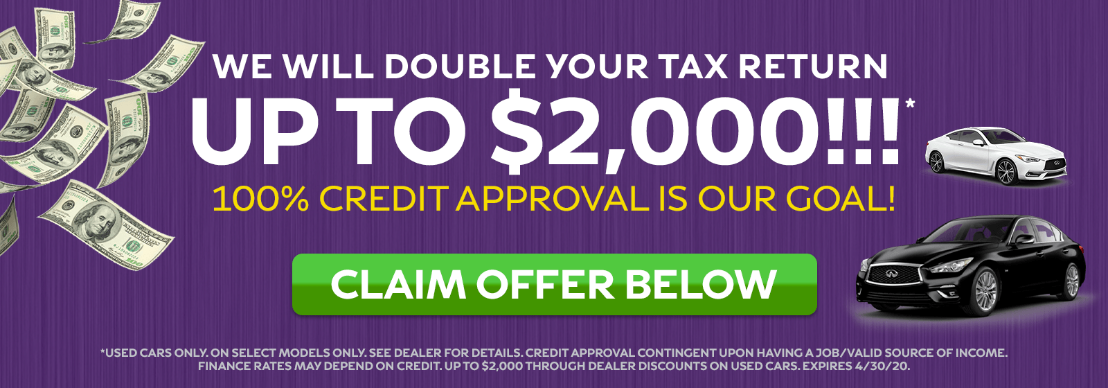 WE WILL DOUBLE YOUR TAX RETURN UP TO $2,000!!!