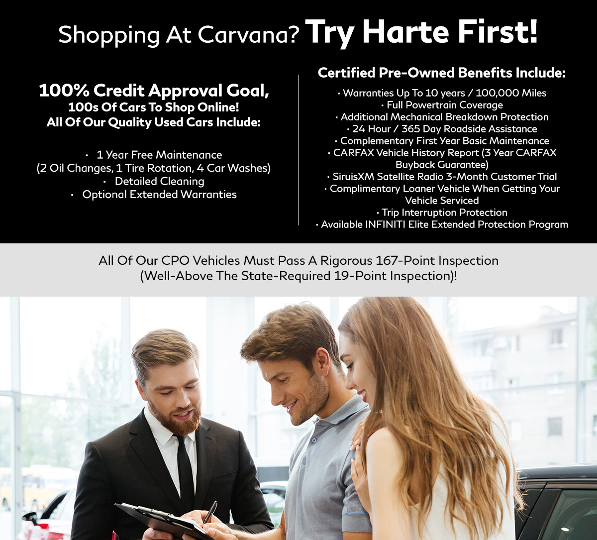 Shopping At CarMax? Try Harte First! header