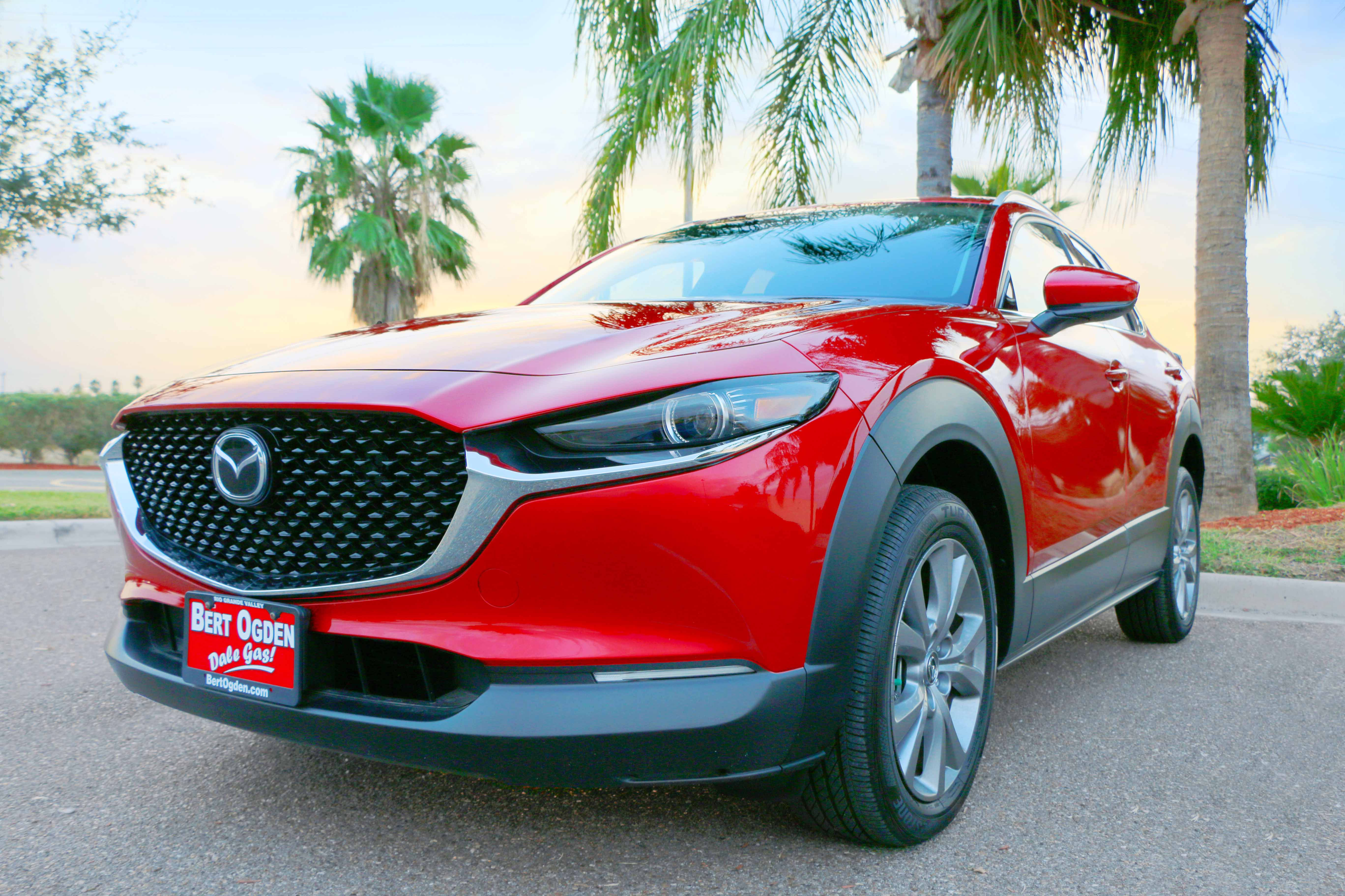front view of Mazda CX-30 parked in front of palm trees