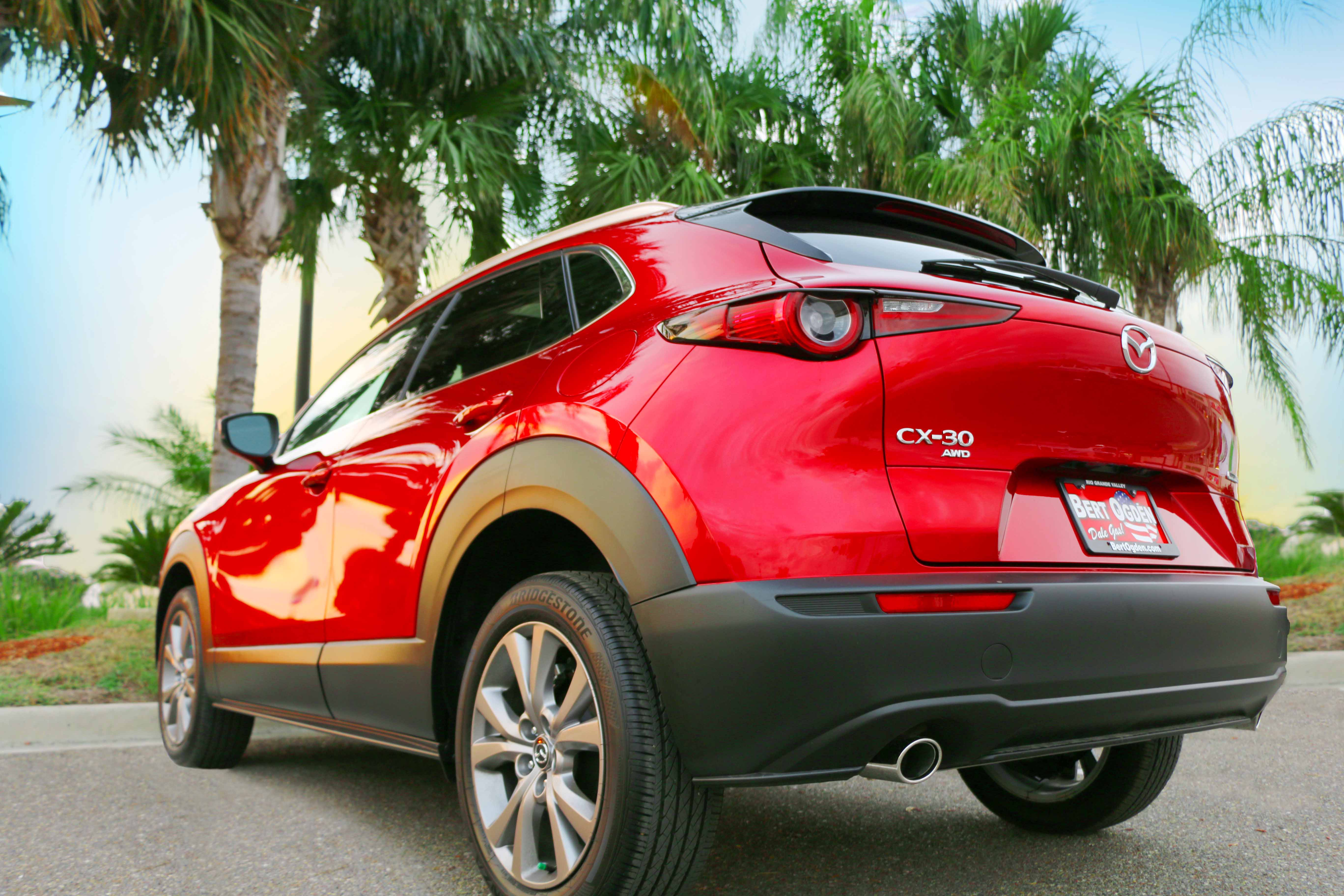 Rear view of Mazda CX-30 parked in front of palm trees