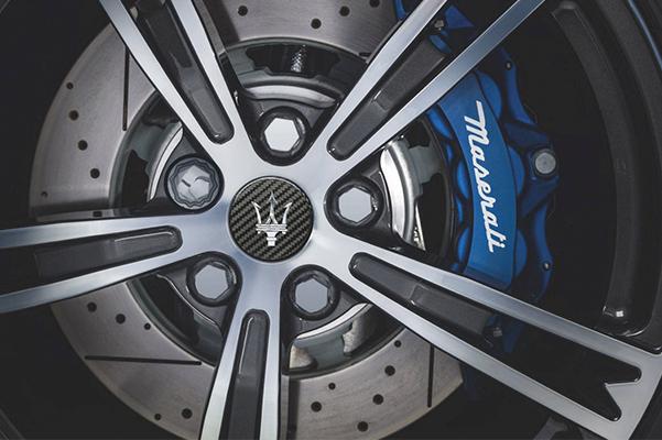 close up of maserati tire
