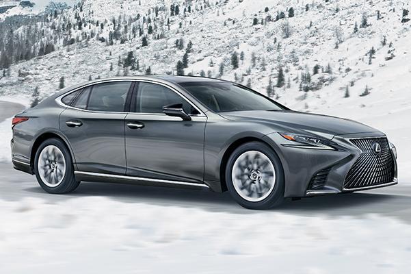 2020 Lexus LS driving in snowy weather