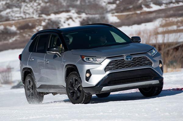 2021 Toyota RAV4 driving in snow
