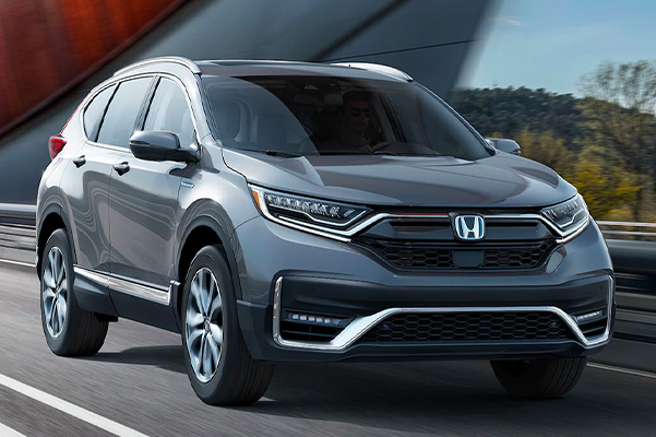 2021 CR-V Hybrid Touring shown in Modern Steel Metallic.