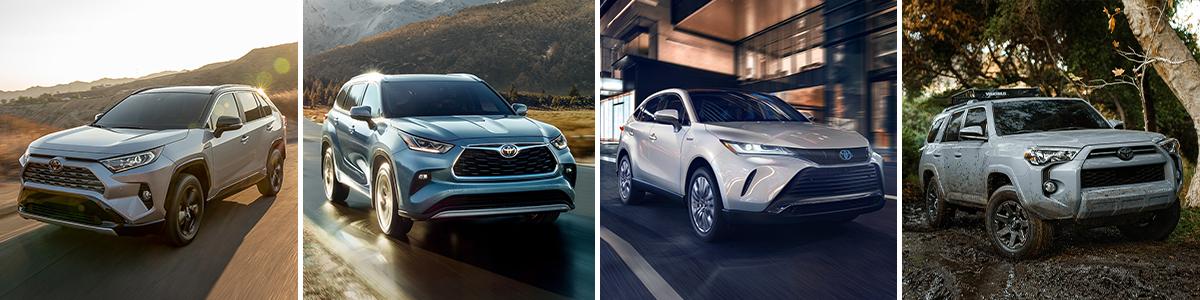 Left to right: 2021 Toyota RAV4; 2021 Toyota Highlander; 2021 Toyota Venza; 2021 Toyota 4Runner