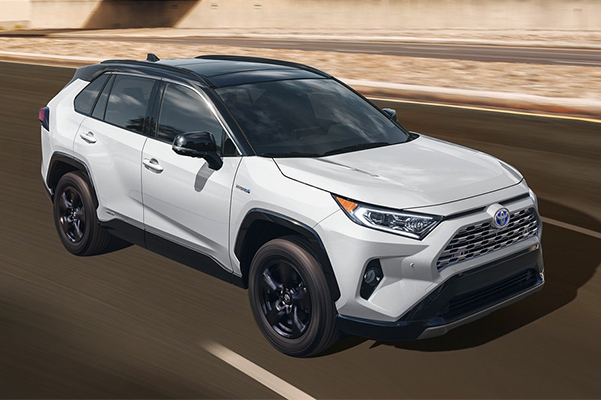 2021 Toyota RAV4 XSE shown in Blizzard Pearl with Midnight Black Metallic roof.