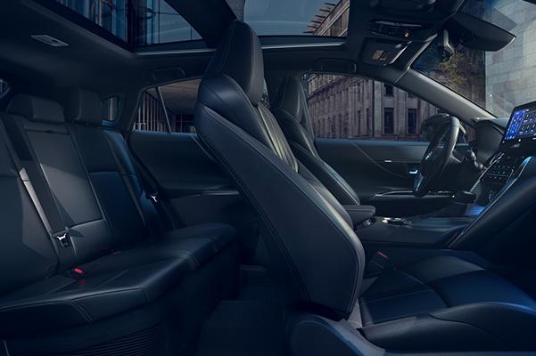 2021 Toyota Venza Limited interior shown in Black SofTex.