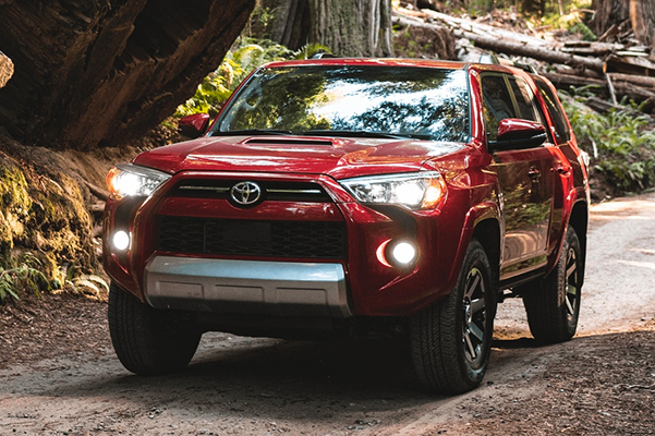 2021 Toyota 4Runner TRD Off-Road Premium shown in Barcelona Red Metallic. Prototype shown with options.
