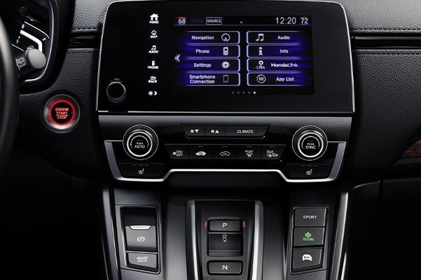 2020 Honda CR-V Hybrid interior center console and media screen.