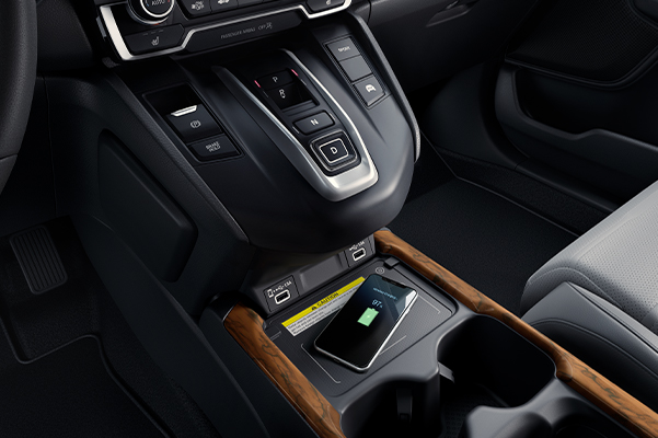 2020 Honda CR-V Hybrid interior center console.