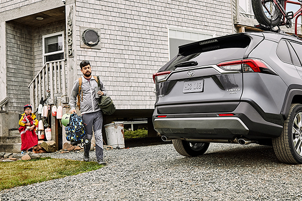 Family walked out to their 2020 Toyota RAV4 on their way to a camping trip