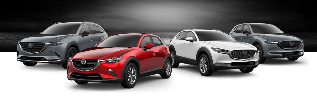 Left to right: 2021 Mazda CX-9, 2020 Mazda CX-3, 2021 Mazda CX-30, 2021 Mazda CX-5