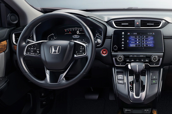 Interior of steering wheel and touchscreen navigation in a 2020 Honda CR-V